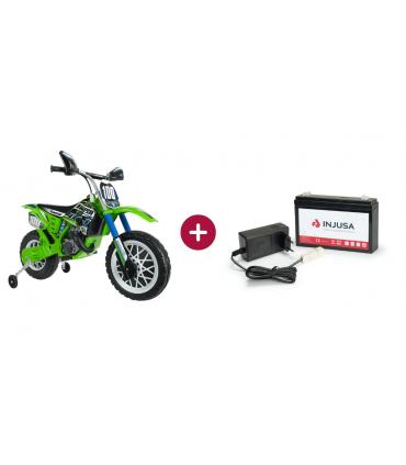 Kawasaki 6V motocross bike pack + 6V lithium battery and charger set.