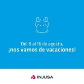 Del 8 al 16 de agosto nos vamos de vacaciones, por eso durante esos días la fábrica y las oficinas permanecerán cerradas.  Volveremos el lunes 17 de agosto, hasta entonces para cualquier incidencia podéis dejar constancia en info@injusa.com y os responderemos a la vuelta.  ¡Feliz verano! 😊