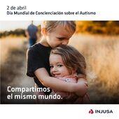 """Hoy 2 de abril se celebra el Día Mundial de Concienciación sobre el Autismo, una fecha que fue creada por las @nacionesunidas para poner de relieve la necesidad de contribuir a la mejora de la calidad de vida de las personas con trastornos del espectro autista (TEA).  Desde Injusa queremos mostrar toda nuestra cercanía, cariño y colaboración con las personas que lo padecen, especialmente con @algodejaime y @sumandocolores.  Porque según reza el lema de @sumandocolores : """"Compartimos el mismo mundo"""" 👦🏻 🌍 👧🏼 . . #2deabril #DíaMundialdeConcienciaciónsobreelAutismo #DíaMundialAutismo #autismo #TEA #SumandoColores #AlgodeJaime #Injusa"""